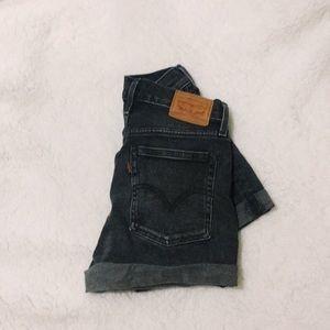High Waisted Washout Black Denim Levi Shorts